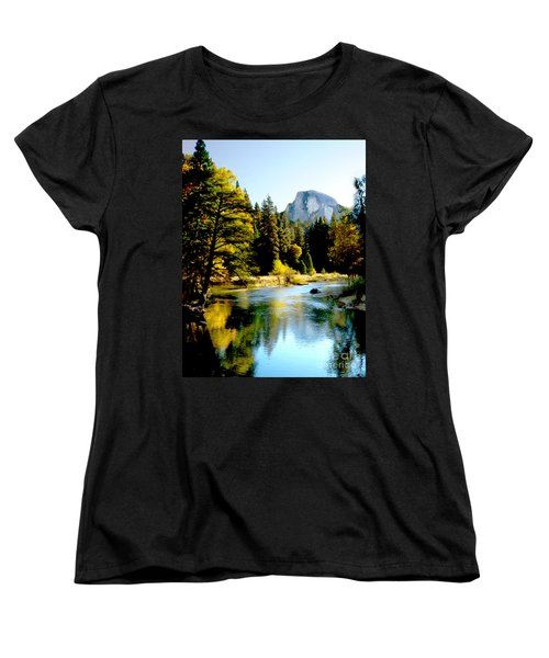 Half Dome Yosemite River Valley Women's T-Shirt (Standard Cut) by Bob and Nadine Johnston