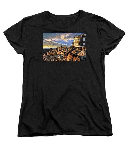 Hampton Beach Sunrise Women's T-Shirt (Standard Cut) by Fred Larson