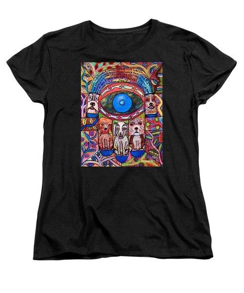 Hamsa Dog Blessing' Women's T-Shirt (Standard Cut) by Sandra Silberzweig