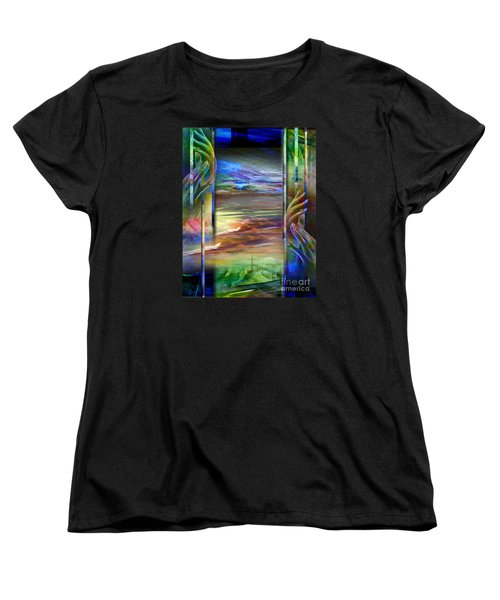 Women's T-Shirt (Standard Cut) featuring the painting Hands-prisoned by Allison Ashton