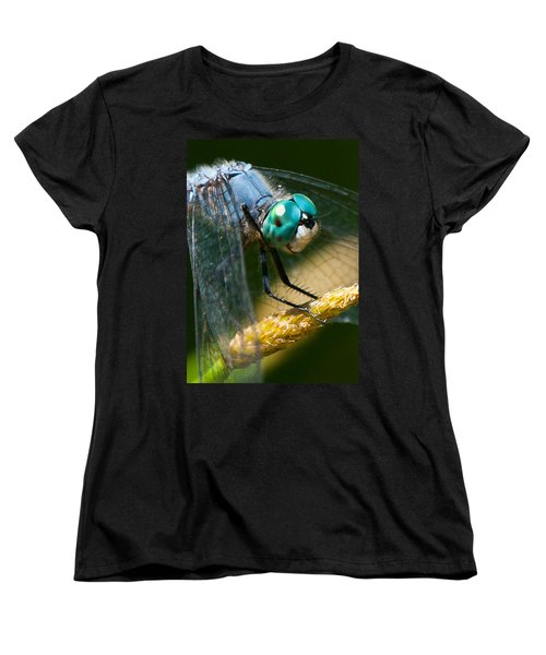 Happy Blue Dragonfly Women's T-Shirt (Standard Cut) by Janis Knight
