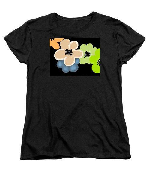 Women's T-Shirt (Standard Cut) featuring the digital art Happy Flowers Blue by Christine Fournier
