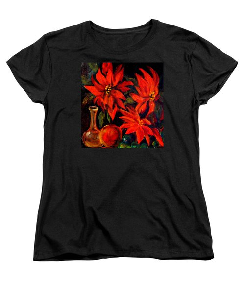 New Orleans Red Poinsettia Oil Painting Women's T-Shirt (Standard Cut) by Michael Hoard
