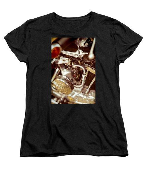 Women's T-Shirt (Standard Cut) featuring the photograph Harley Davidson Closeup by Carsten Reisinger