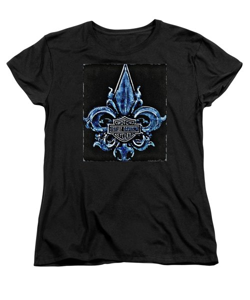 Women's T-Shirt (Standard Cut) featuring the photograph Harley Davidson Fleur De Lys Logo by Danielle  Parent