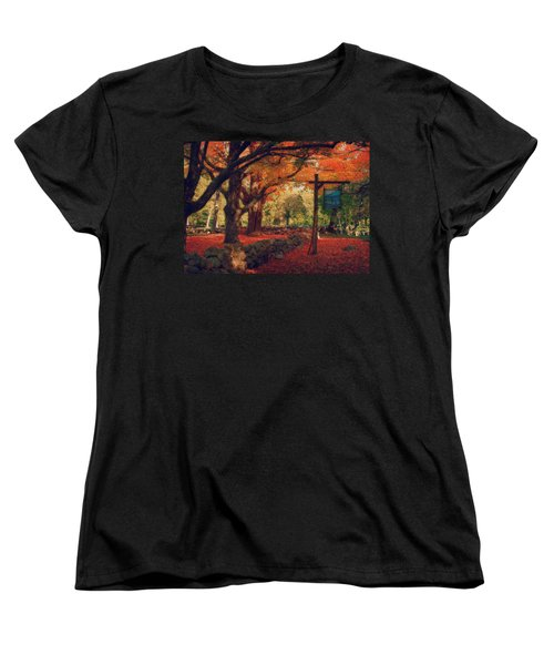 Women's T-Shirt (Standard Cut) featuring the photograph Hartwell Tavern Under Orange Fall Foliage by Jeff Folger