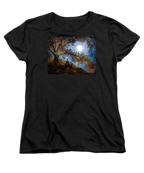 Harvest Moon Meditation Women's T-Shirt (Standard Cut) by Laura Iverson