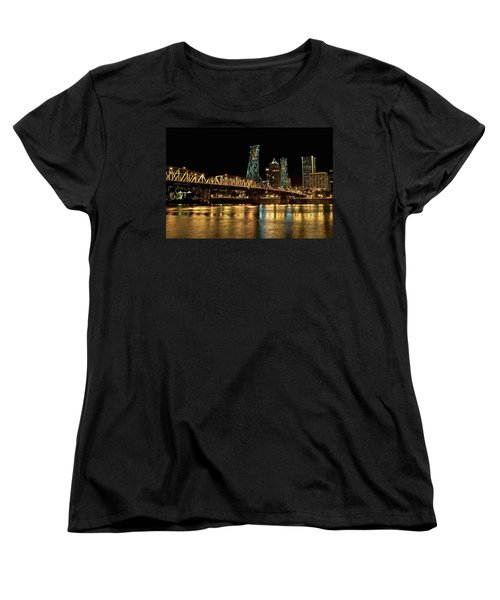Hawthorne Bridge Over Willamette River Women's T-Shirt (Standard Cut)