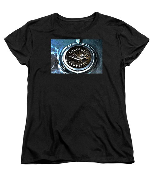 Women's T-Shirt (Standard Cut) featuring the photograph Hdr Vintage Corvette Emblem Art by Lesa Fine