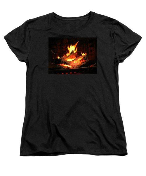 Women's T-Shirt (Standard Cut) featuring the photograph Heart-shaped Ember In Roaring Fire by Connie Fox