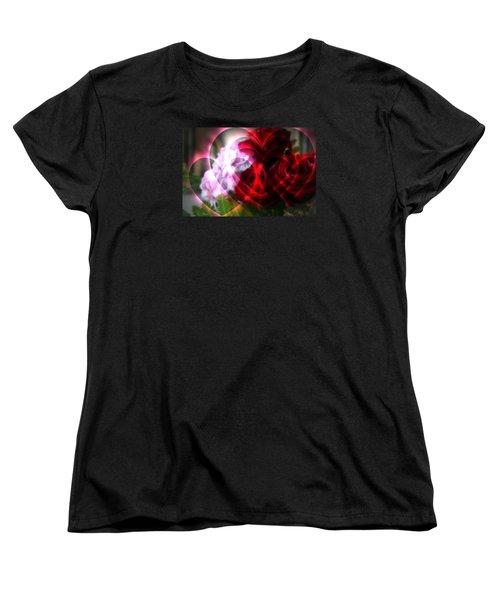 Hearts A Fire Women's T-Shirt (Standard Cut) by Kay Novy