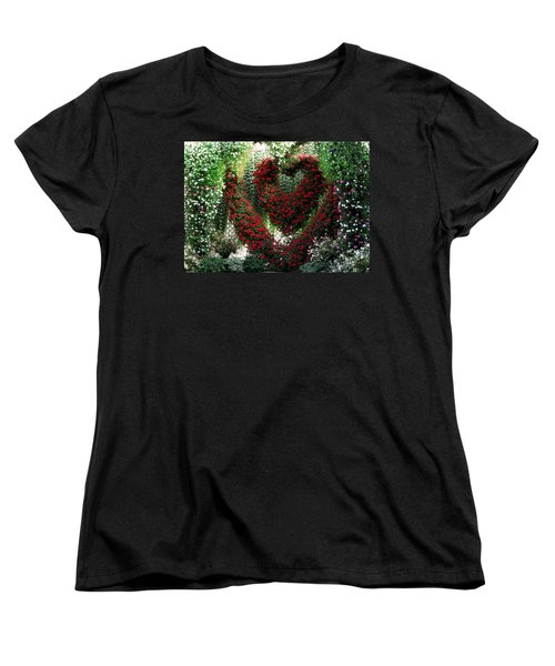 Women's T-Shirt (Standard Cut) featuring the photograph Hearts And Flowers by Jennifer Wheatley Wolf