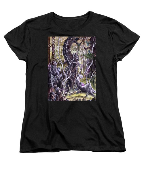 Women's T-Shirt (Standard Cut) featuring the painting Heist Of The Wizard's Staff 2 by Curtiss Shaffer