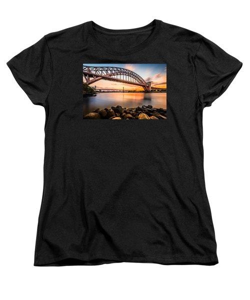 Hell Gate And Triboro Bridge At Sunset Women's T-Shirt (Standard Cut) by Mihai Andritoiu