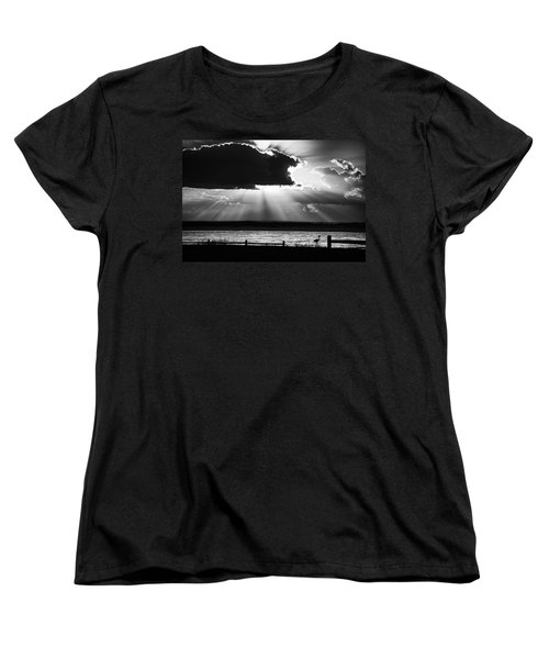 Women's T-Shirt (Standard Cut) featuring the photograph Heron And  The Cloudburst by Michael Thomas