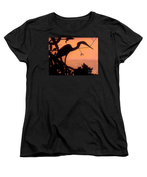 Women's T-Shirt (Standard Cut) featuring the drawing Heron Sunset by D Hackett