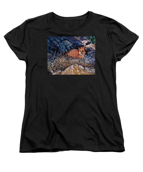 Women's T-Shirt (Standard Cut) featuring the painting Hide And Seek by Craig T Burgwardt