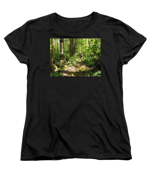 Hiking Off Trail Women's T-Shirt (Standard Cut) by Melinda Fawver