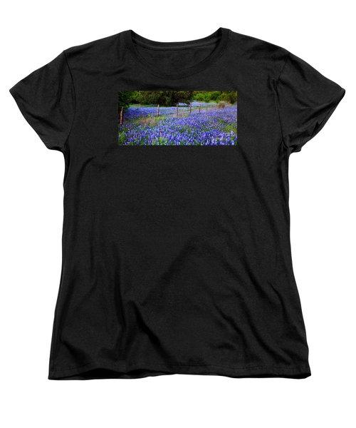 Hill Country Heaven - Texas Bluebonnets Wildflowers Landscape Fence Flowers Women's T-Shirt (Standard Cut) by Jon Holiday