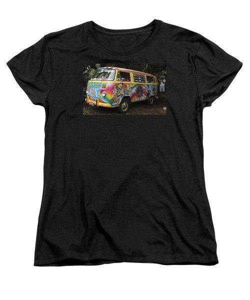 Vintage 1960's Vw Hippie Bus Women's T-Shirt (Standard Cut) by Venetia Featherstone-Witty