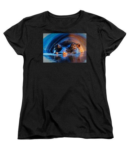 Hippopotamus  At Sunset Women's T-Shirt (Standard Cut) by Johan Swanepoel