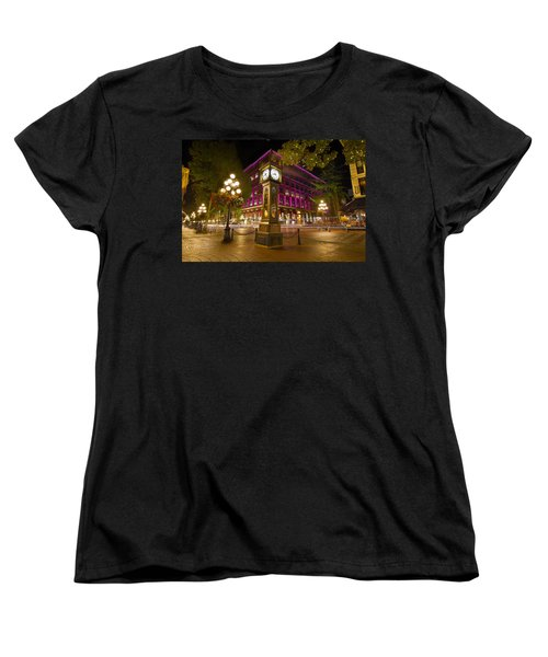 Women's T-Shirt (Standard Cut) featuring the photograph Historic Steam Clock In Gastown Vancouver Bc by JPLDesigns