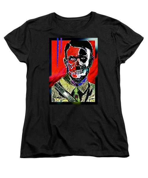 Women's T-Shirt (Standard Cut) featuring the painting Hitler  - The  Face  Of  Evil by Hartmut Jager