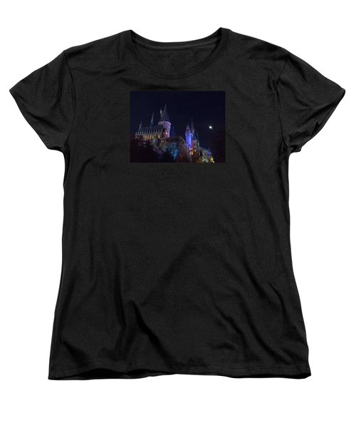 Hogwarts Castle At Night Women's T-Shirt (Standard Cut) by Kathy Long