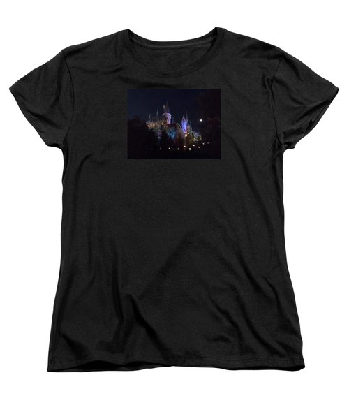Hogwarts Castle In Lights Women's T-Shirt (Standard Cut) by Kathy Long