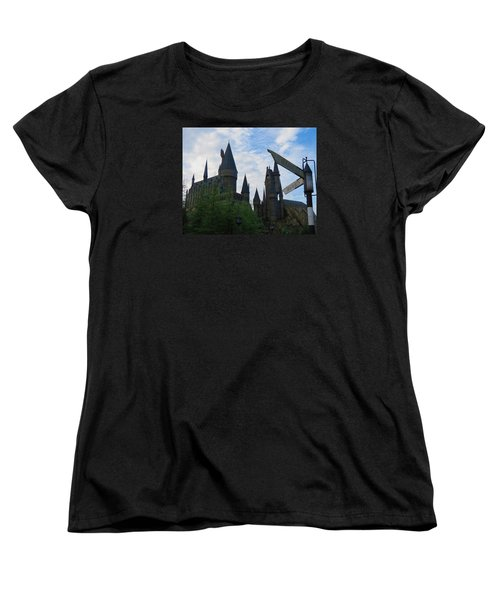 Hogwarts Castle With Signs Women's T-Shirt (Standard Cut) by Kathy Long