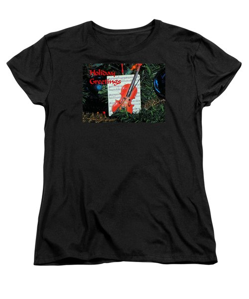 Women's T-Shirt (Standard Cut) featuring the photograph Holiday Greetings With Violin by Rosalie Scanlon