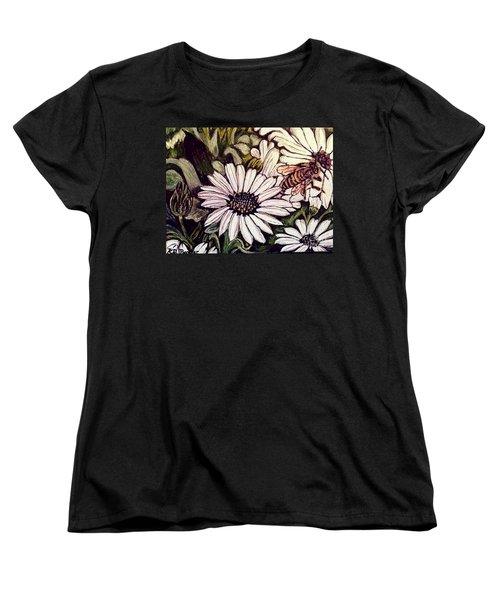 Women's T-Shirt (Standard Cut) featuring the painting Honeybee Cruzing The Daisies by Kimberlee Baxter