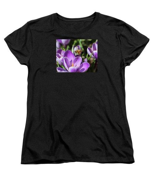 Honeybee Flying Over Crocus Women's T-Shirt (Standard Cut) by Lucinda VanVleck