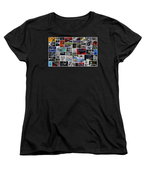 Women's T-Shirt (Standard Cut) featuring the photograph Hood Ornament Collage by Mike Martin