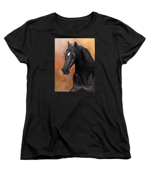 Women's T-Shirt (Standard Cut) featuring the painting Horse - Lucky Star by Go Van Kampen
