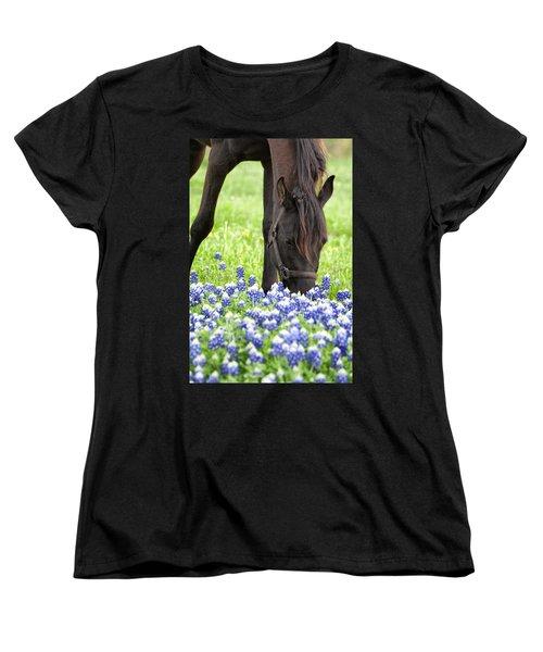 Horse With Bluebonnets Women's T-Shirt (Standard Cut)
