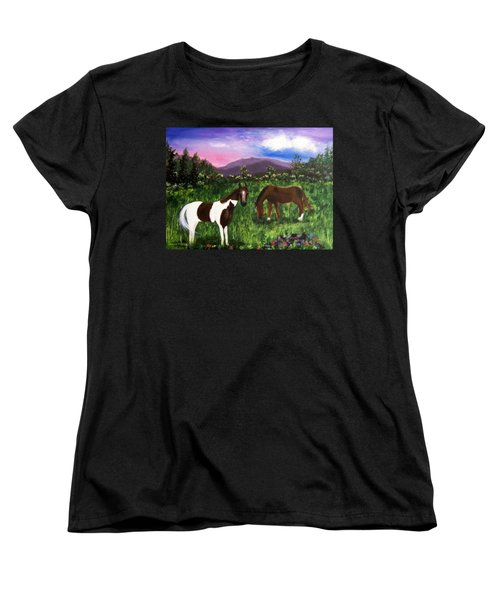 Women's T-Shirt (Standard Cut) featuring the painting Horses by Jamie Frier