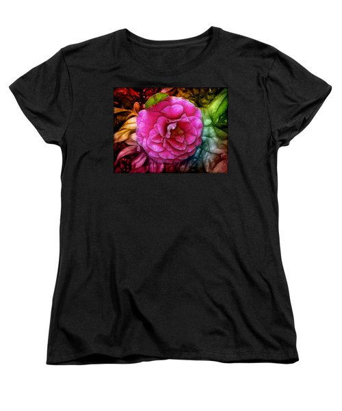 Hot And Silky Pink Rose Women's T-Shirt (Standard Cut) by Lilia D