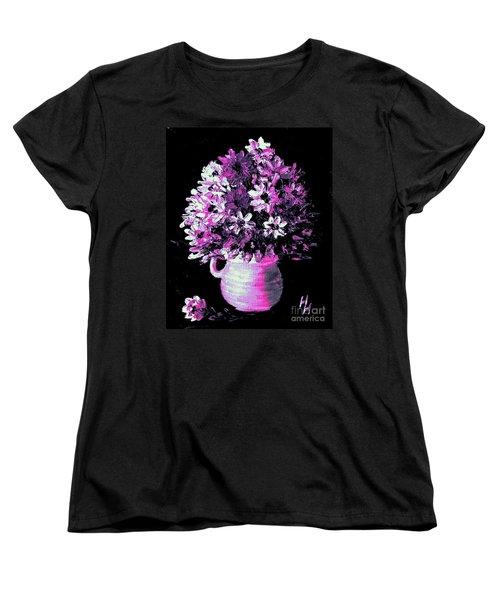 Hot Pink Flowers Women's T-Shirt (Standard Cut) by Hazel Holland