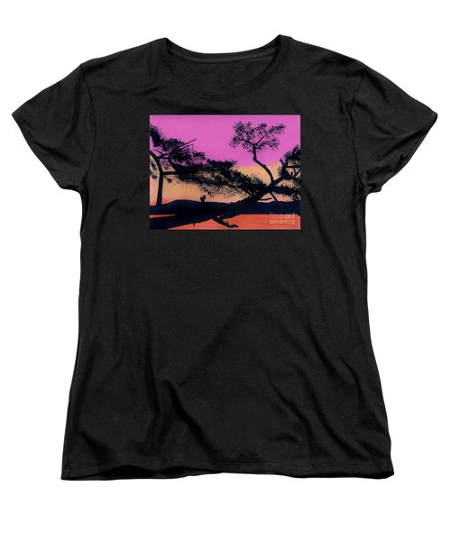 Women's T-Shirt (Standard Cut) featuring the drawing Hot Pink Sunset by D Hackett