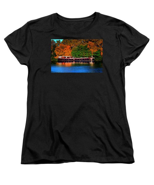 Women's T-Shirt (Standard Cut) featuring the photograph House Boat River Barge In France by Tom Prendergast