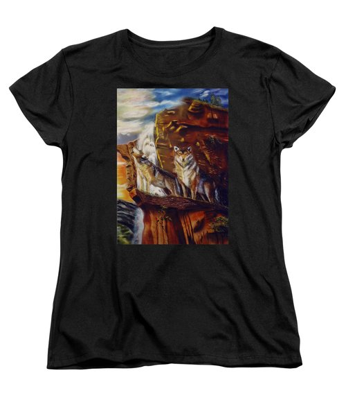 Women's T-Shirt (Standard Cut) featuring the painting Howling For The Nightlife  by Thomas J Herring