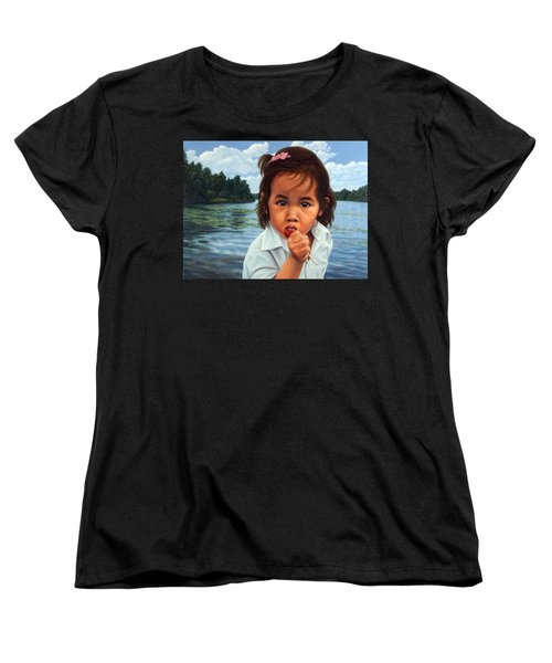 Women's T-Shirt (Standard Cut) featuring the painting Human-nature 48 by James W Johnson