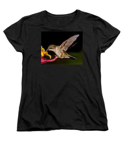 Ruby Throated Hummingbird Women's T-Shirt (Standard Cut) by Brian Caldwell
