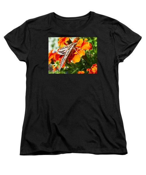 Hummingbird Moth On A Marigold Flower Women's T-Shirt (Standard Cut) by Nadja Rider