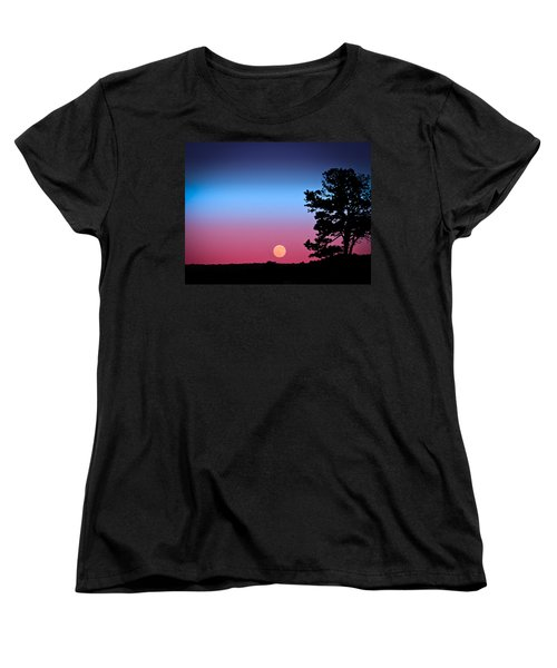 Women's T-Shirt (Standard Cut) featuring the photograph Hunter's Moonrise In Eastern Arizona by John Haldane
