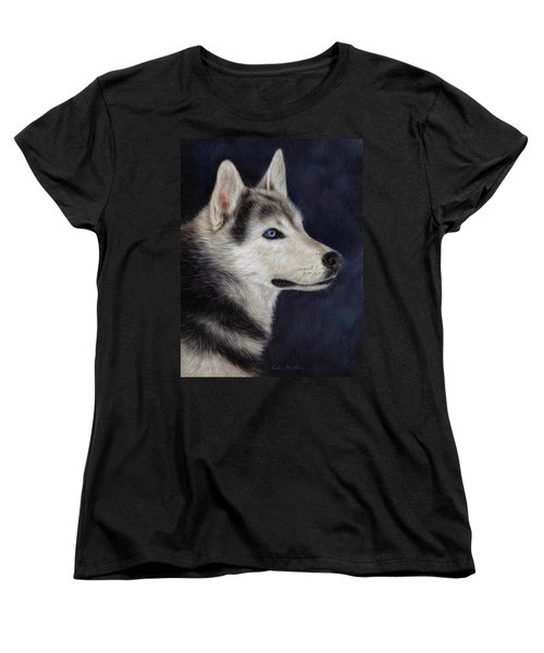 Husky Portrait Painting Women's T-Shirt (Standard Cut) by Rachel Stribbling