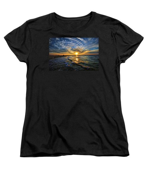 Hypnotic Sunset At Israel Women's T-Shirt (Standard Cut) by Ron Shoshani