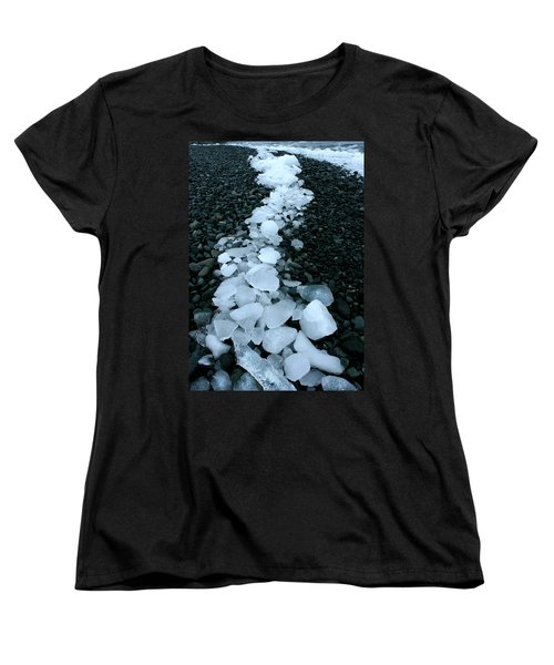 Women's T-Shirt (Standard Cut) featuring the photograph Ice Pebbles by Amanda Stadther