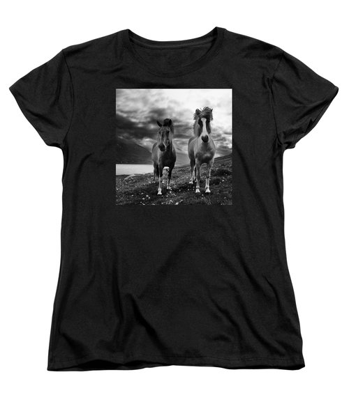 Women's T-Shirt (Standard Cut) featuring the photograph Icelandic Horses by Frodi Brinks